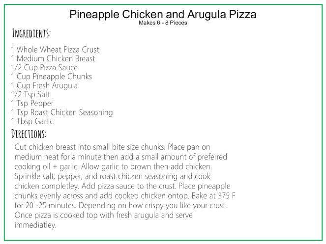Pineapple Chicken and Arugula Pizza Recipe