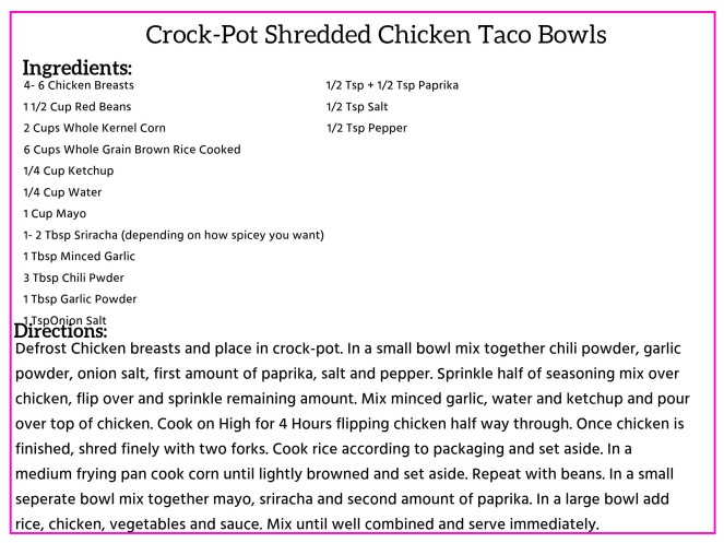 Crock Pot shredded Chicken Taco Bowls Recipe Card