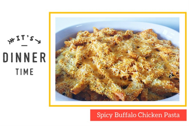 Spicy Buffalo Chicken Pasta Blog Title